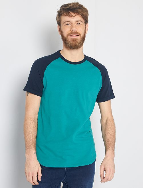 T-shirt slim bicolore 'éco-conception'                                                                             bleu marine/vert