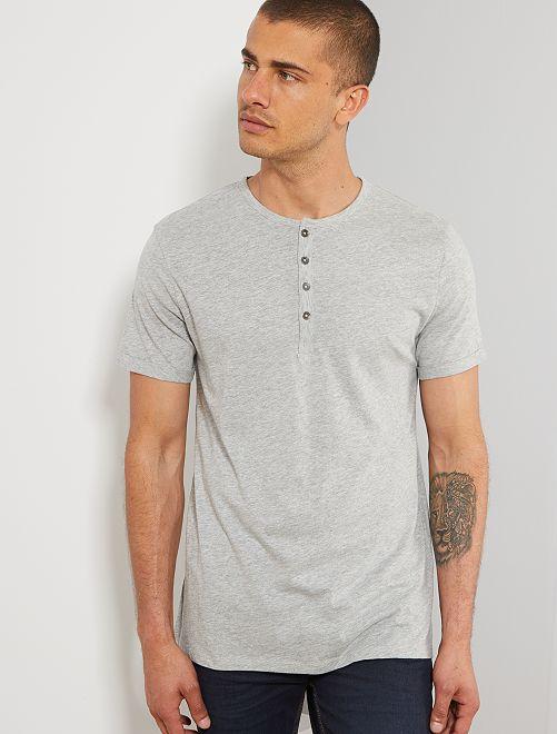 T-shirt slim col tunisien 'éco-conception'                                                                             gris clair Homme