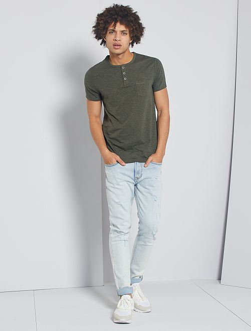T-shirt slim col tunisien 'éco-conception'                                                                             kaki