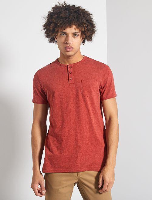 T-shirt slim col tunisien 'éco-conception'                                                                             rouge brique