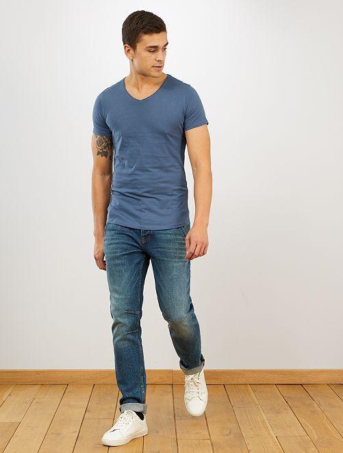 T-shirt slim col V                                                                                                                                         bleu gris