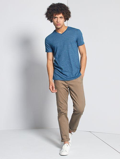 T-shirt slim col V 'éco-conception'                                                                             bleu canard