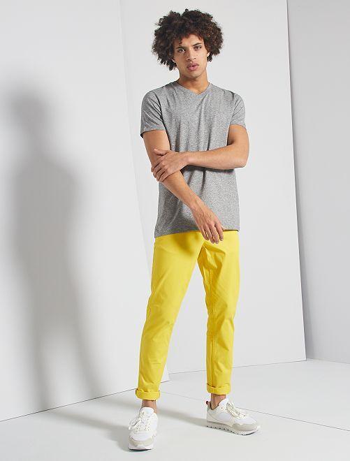 T-shirt slim col V éco-conçu                                                     gris