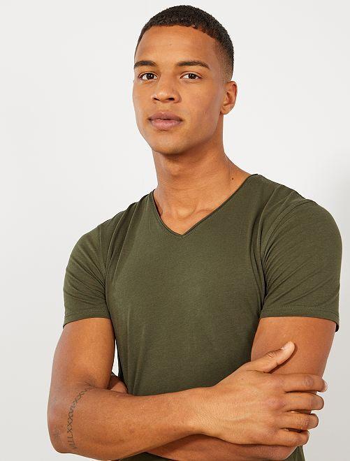 T-shirt slim col V                                                                                                                                                     kaki Homme