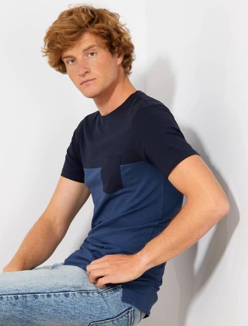 T-shirt slim color block                                                     bleu marine/bleu pétrole Homme
