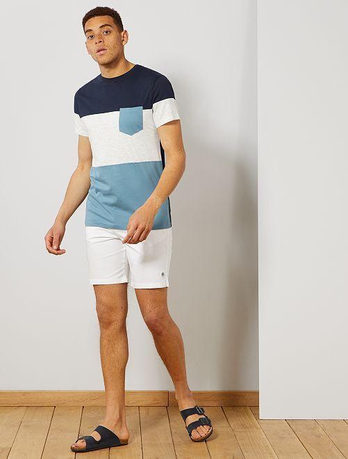 T-shirt slim colorblock                                                                 bleu marine/écru/bleu gris Homme