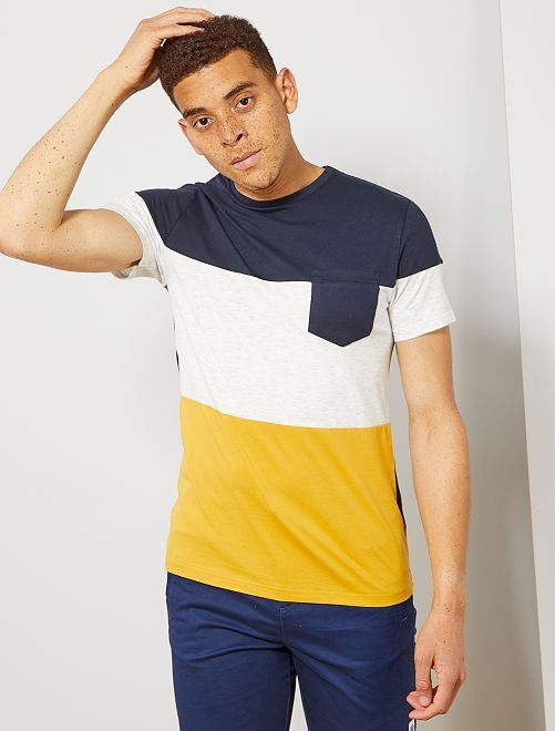 T-shirt slim colorblock                                                                 bleu marine/écru/jaune Homme