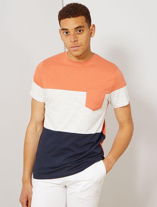 T-shirt slim colorblock                                                                 corail/écru/bleu marine Homme