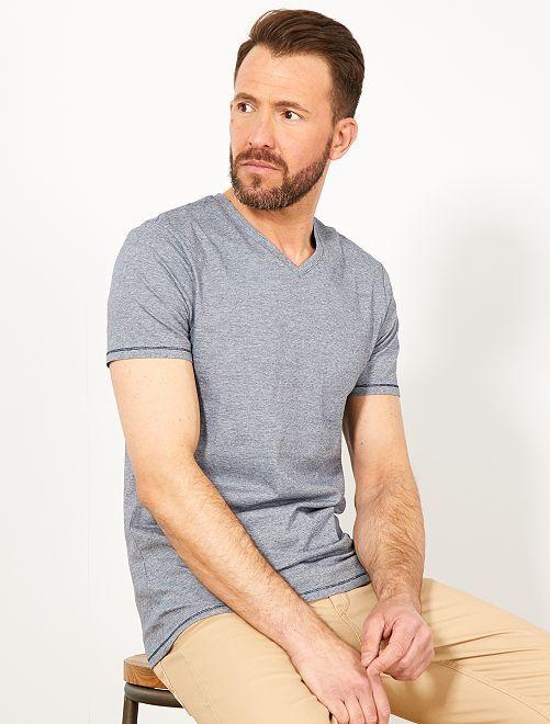 T-shirt slim coton bio                     bleu marine/blanc