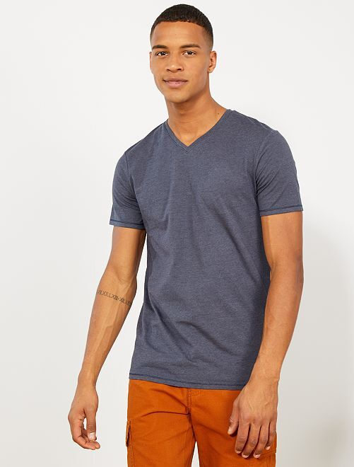 T-shirt slim coton bio                                         bleu marine/bleu gris