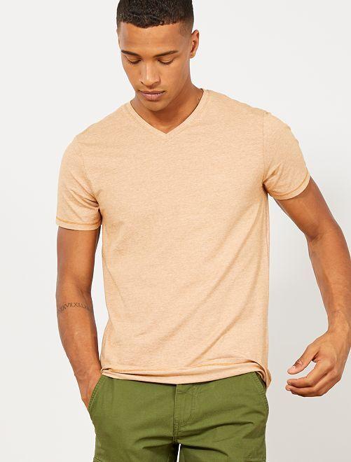 T-shirt slim coton bio                                             moutarde/blanc Homme