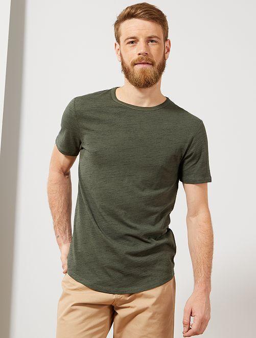 T-shirt slim 'éco-conception'                                                                             kaki chiné