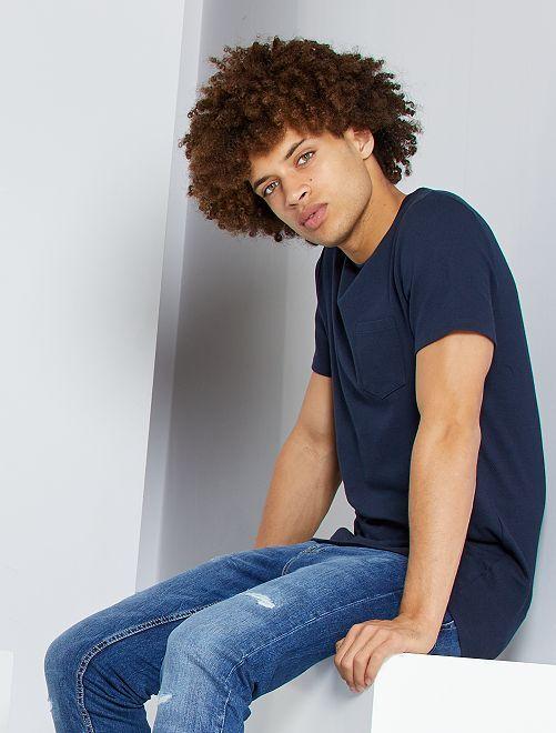 T-shirt slim éco-conçu                                                                 bleu marine