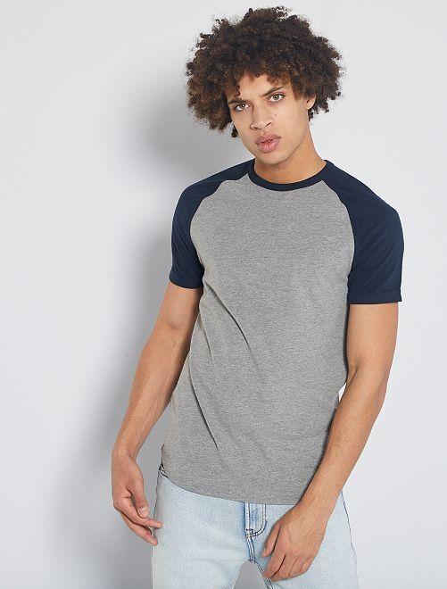 T-shirt slim éco-conçu                                                                 bleu marine/gris