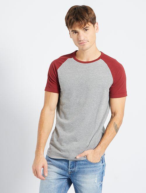 T-shirt slim éco-conçu                                                                 bordeaux gris
