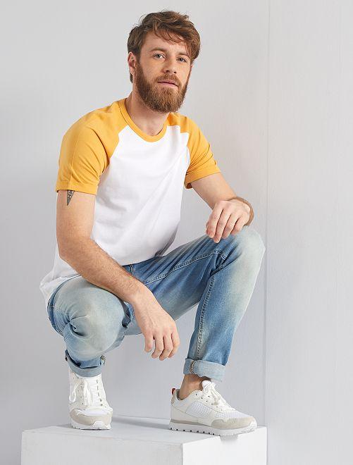 T-shirt slim éco-conçu                                                                 jaune/blanc