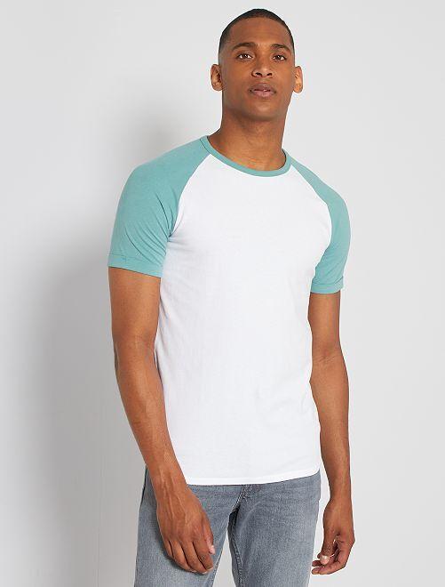 T-shirt slim éco-conçu                                                                             vert/blanc