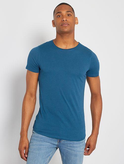 T-shirt slim en jersey uni                                                                                                                                                                             bleu canard