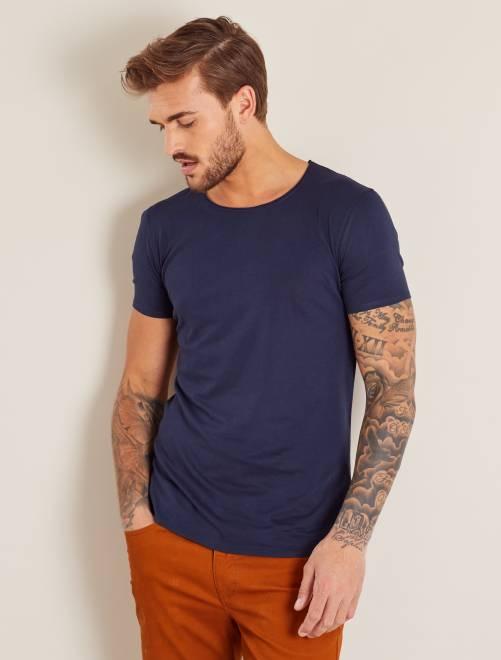 T-shirt slim en jersey uni                                                                                                                                 bleu marine Homme