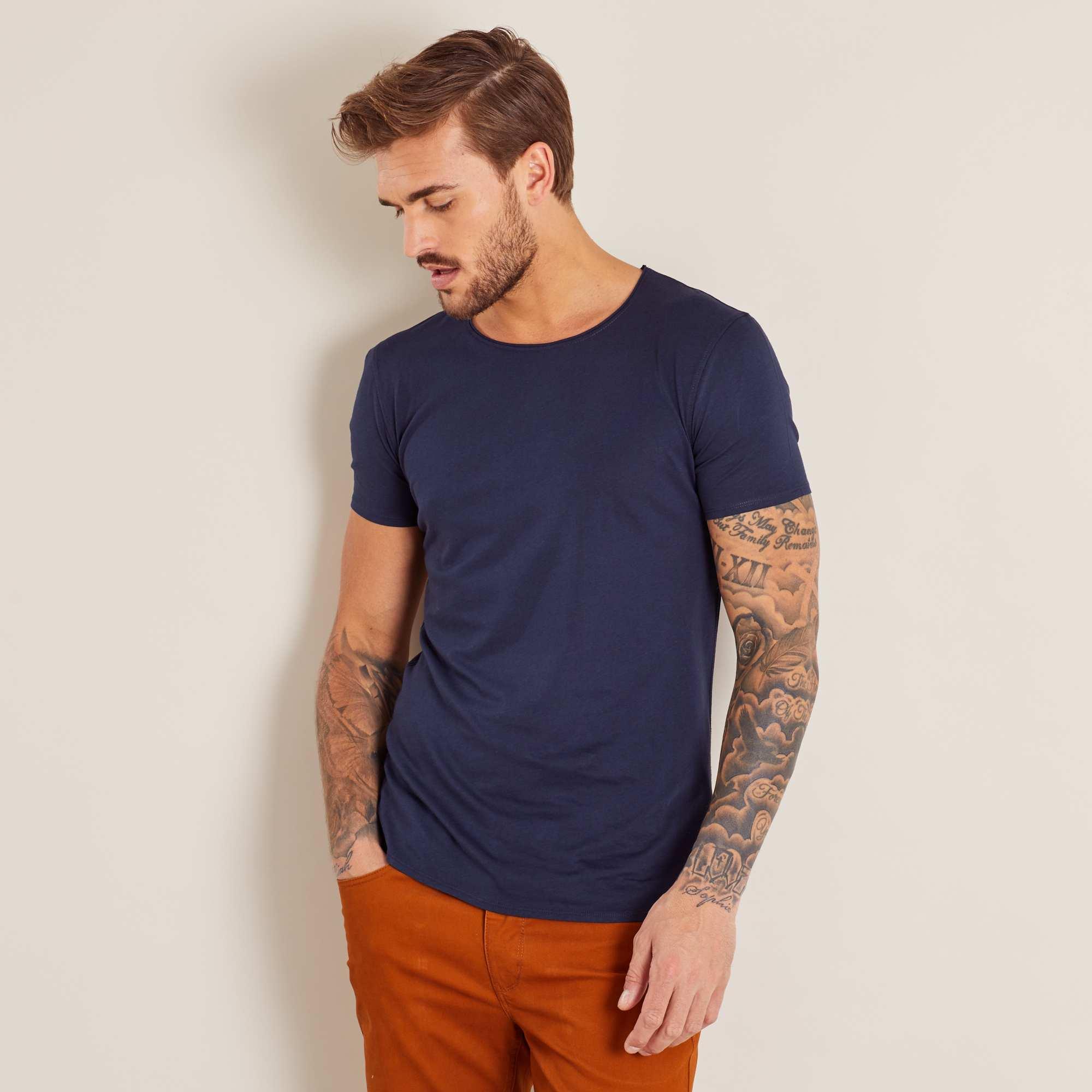 t shirt slim en jersey uni homme bleu marine kiabi 3 20. Black Bedroom Furniture Sets. Home Design Ideas