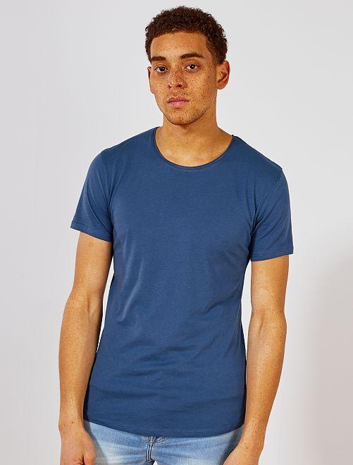 T-shirt slim en jersey uni                                                                                                                                                     bleu pétrole