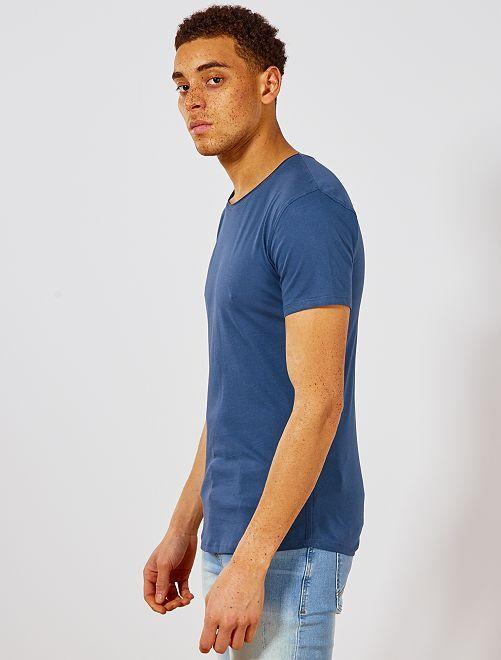 8b95fb8e15bc8 T-shirt slim en jersey uni