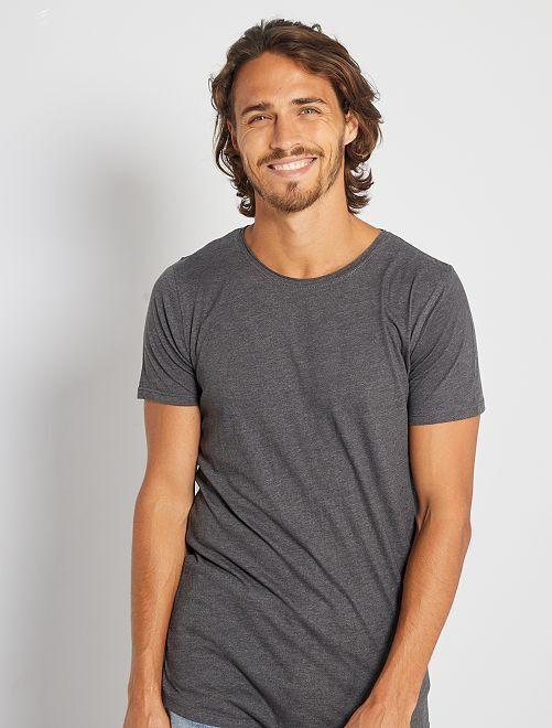 T-shirt slim en jersey uni                                                                                                                                         gris chiné