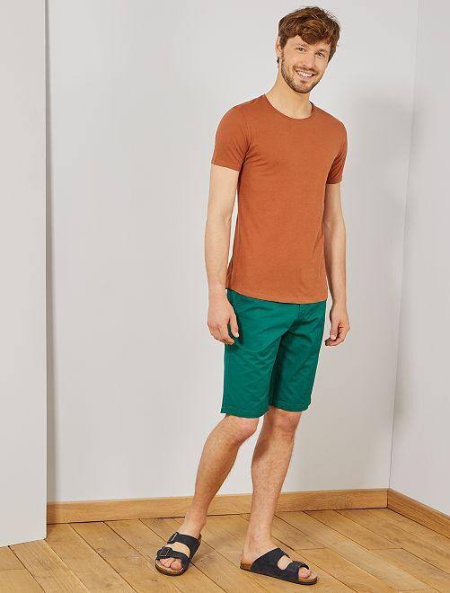 T-shirt slim en jersey uni                                                                                                                                         marron Homme