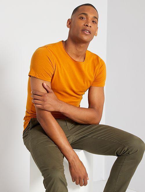 T-shirt slim en jersey uni                                                                                                                                                                 orange