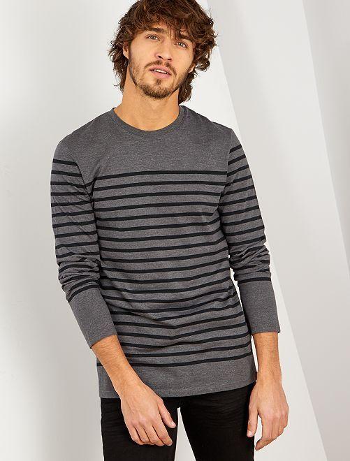 T-shirt slim marinière                                                     anthracite/noir
