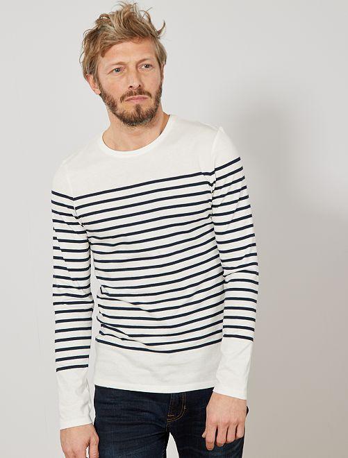 T-shirt slim marinière                                         bleu marine/écru Homme