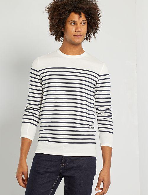 T-shirt slim marinière                             écru/bleu marine