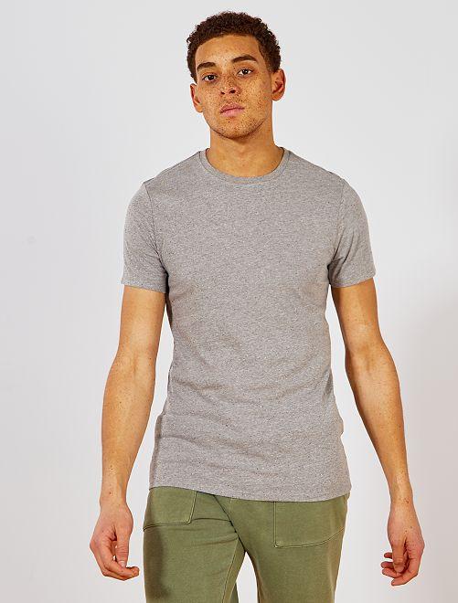 T-shirt slim moucheté Eco-conception                                                                             gris clair Homme