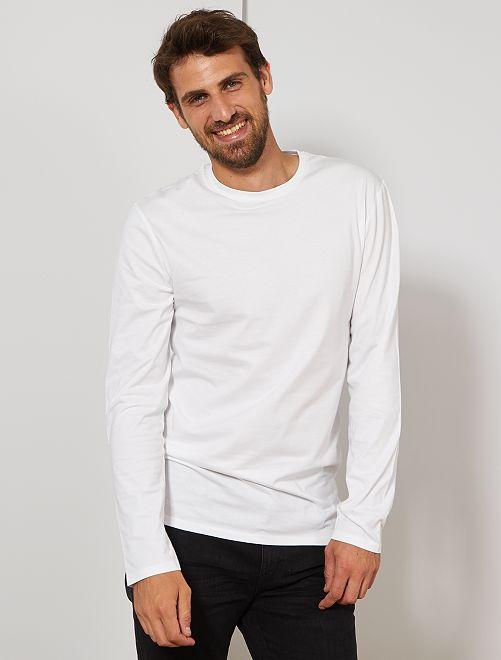 T-shirt slim pur coton +1m90                                                     blanc Homme de plus d'1m90