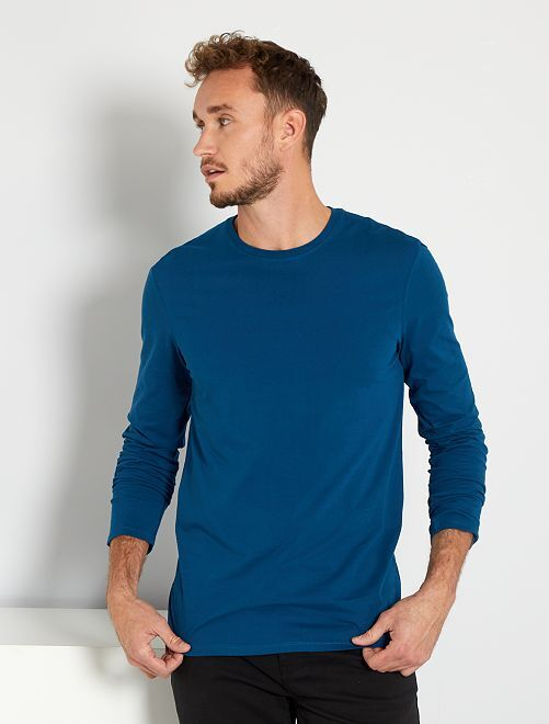 T-shirt slim pur coton +1m90                                 bleu canard