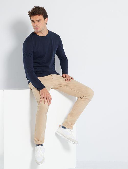 T-shirt slim pur coton +1m90                                         bleu marine