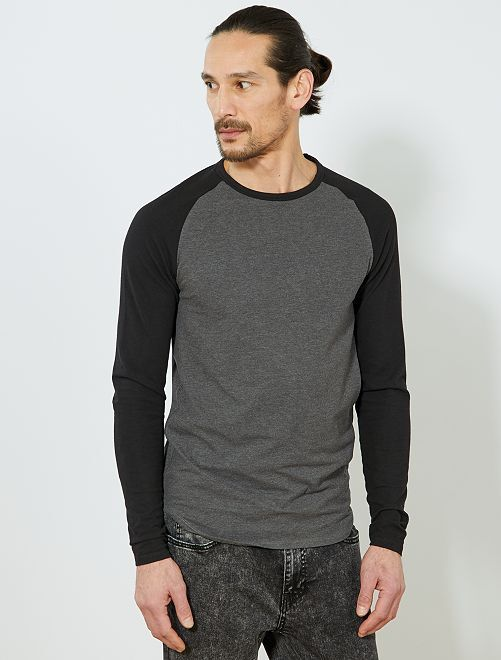 T-shirt slim raglan bicolore Eco-conception                                                                 gris chiné/noir Homme