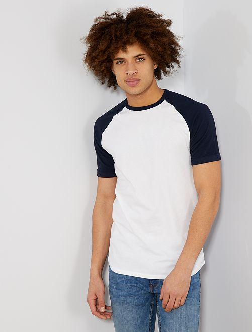 T-shirt slim raglan Eco-conception                                                                             bleu marine/blanc Homme