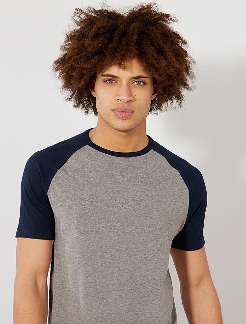 T-shirt slim raglan Eco-conception                                                                             bleu marine/gris chiné Homme