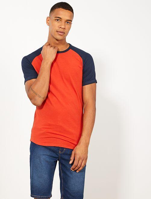 T-shirt slim raglan Eco-conception                                                                             bleu marine/orange ketchup Homme
