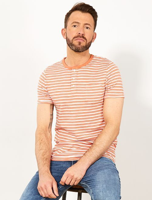T-shirt slim rayé col tunisien                                                                 orange Homme