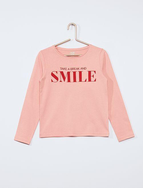 T-shirt 'smile' éco-conçu                             rose