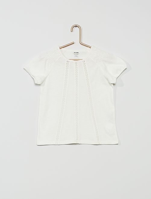 T-shirt smocké 'Eco-conception'                                                                                                                             blanc