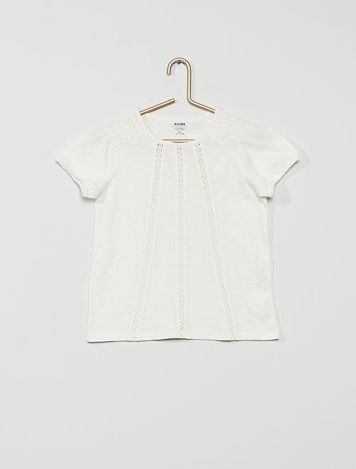 T-shirt smocké éco-conçu                                                                                                                                                                                         blanc cassé