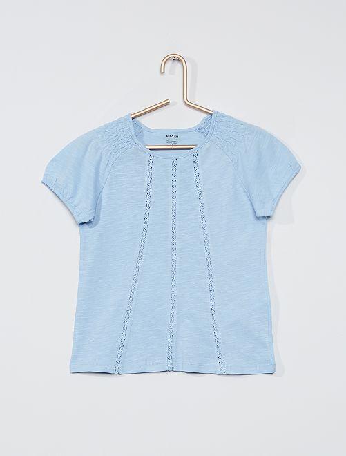 T-shirt smocké éco-conçu                                                                                                                                                                                                                 bleu