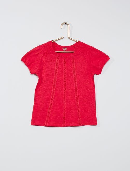 T-shirt smocké éco-conçu                                                                                                                                                                 fuchsia