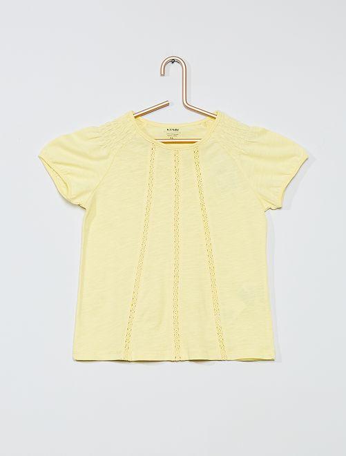 T-shirt smocké éco-conçu                                                                                         jaune pâle