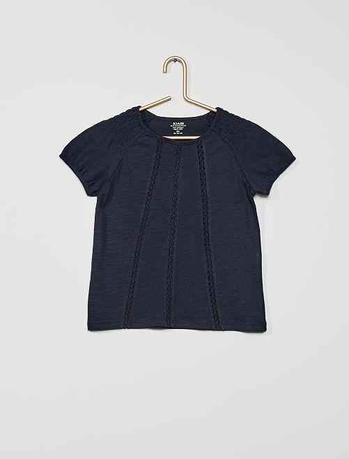 T-shirt smocké éco-conçu                                                                                                                                                     marine
