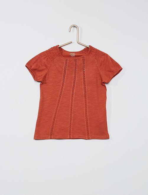 T-shirt smocké éco-conçu                                                                                                                                                     orange