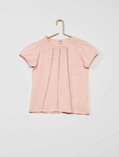 T-shirt smocké éco-conçu                                                                                                                                                                 rose clair